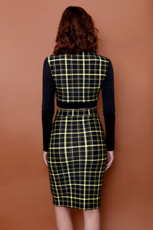 Retro Plaid Highwaist Pencil Skirt