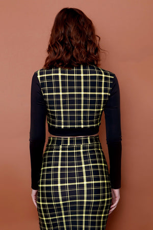 Retro Plaid with Black Sleeves Crop Mock Turtleneck
