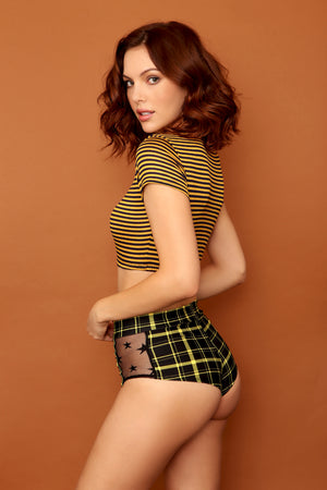 Retro Plaid Highwaist Mesh Panel Cheeky Shorts in Black and Yellow