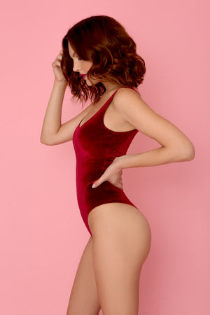 Plush Velvet Scoopneck Bodysuit in Burgundy