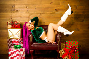 Santa's Helper Green Velvet Long Sleeve Top and Cheeky Shorts Set