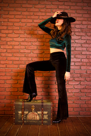Plush Velvet Bell Bottom Pants in Black