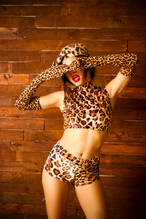 Plush Velvet Highwaist Cheeky Shorts in Leopard