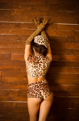 Plush Velvet Cheeky Shorts in Leopard
