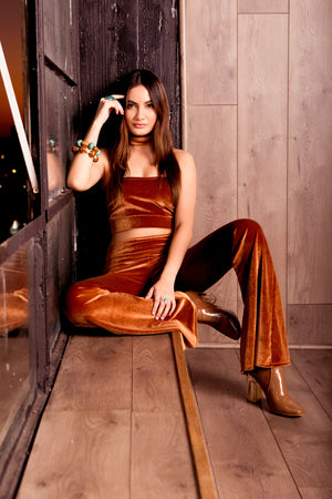 Plush Velvet Set with Bell Bottom Pants and Tube Top in Warm Caramel