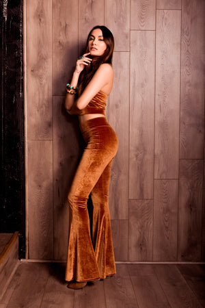 Plush Velvet Flare Pants in Caramel