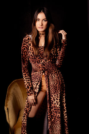 Country Pop Star Velvet Leopard Duster Robe