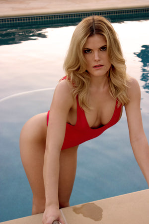 Highcut Sideboob One Piece Swimsuit in Red