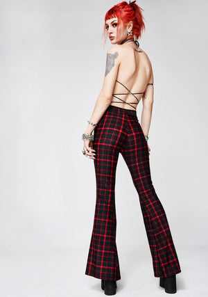 Retro Plaid Flare Pants in Black and Red