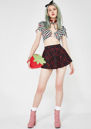 Retro Plaid Flirty Circle Skirt in Black and Red