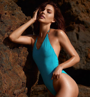 Heatwave One Piece with Ring Ties in Turquoise