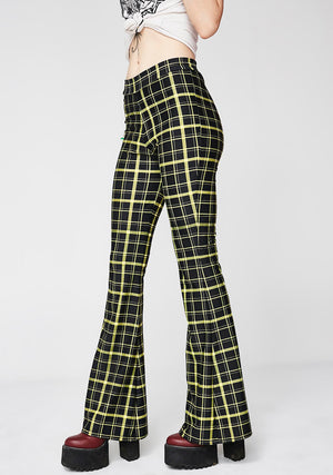 Retro Plaid Flare Pants in Black and Yellow