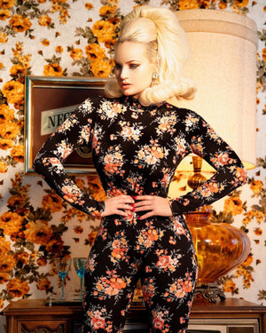 Retro Floral Catsuit with Zipper Back