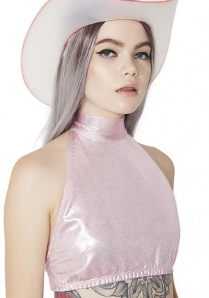 Hologram Halter and Skirt Set in Baby Pink