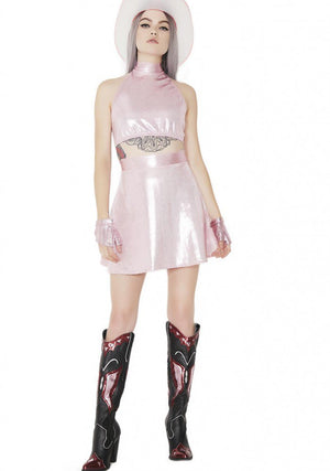 Hologram Baby Spice Halter and Skirt Set