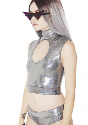 Hologram Keyhole Mock Turtleneck Sleeveless Crop Top