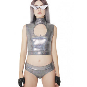 Hologram Lowrise Cheeky Bottoms in Silver and Gold