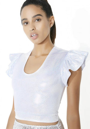Hologram Pixie Flutter Sleeve Crop Top