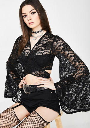 Bell Sleeve Tie Top in Black Lace