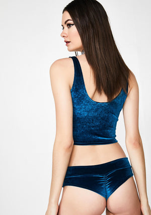Plush Velvet Crop Tank in Teal