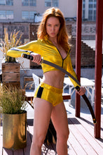 Kill Bill Inspired Jacket, Sport Bikini Top, and Mid-Rise Shorts Set