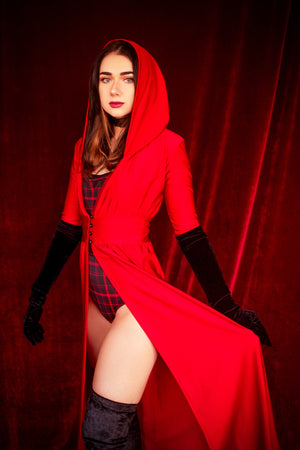 Hooded Duster Robe in Red