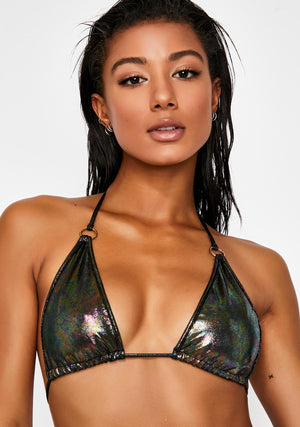 Hologram String Bikini in Oil Slick Hologram