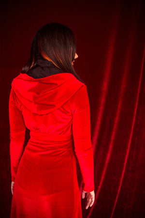 Velvet Hooded Duster Robe in Red