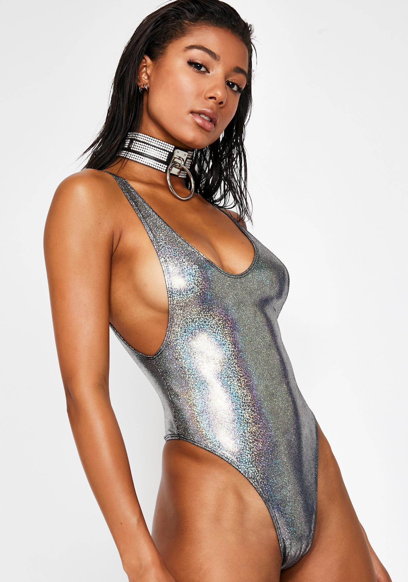 d09f870327164 Hologram Highcut Sideboob One Piece Swimsuit in Black on Black ...