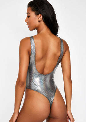 Hologram Highcut Sideboob One Piece Swimsuit in Silver Hologram
