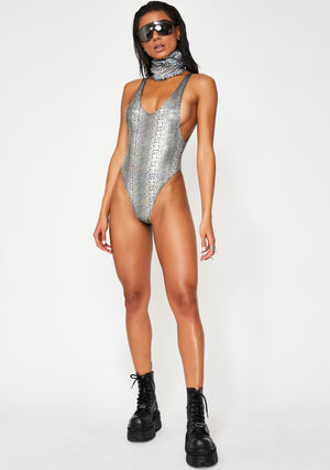 Hologram Highcut Sideboob One Piece Swimsuit in Silver Snakeskin