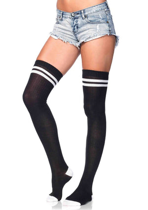Ribbed Athletic Thigh High Socks in Black