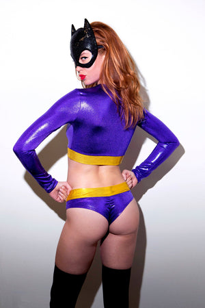 Purple Bat Hero Costume Set: Long Sleeve Crop Top with Lowrise Brazilian Bottoms