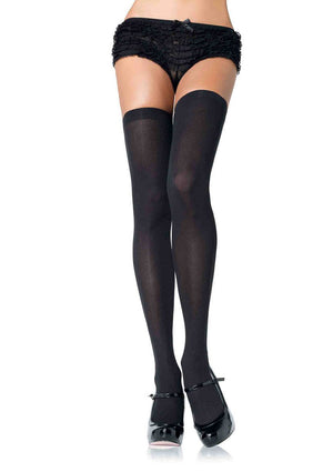 Opaque Thigh High Stockings in Black