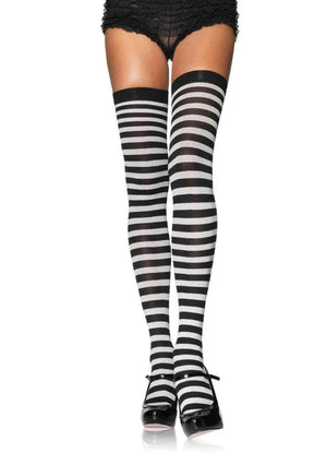 Opaque Thigh High Stockings in Black Stripe