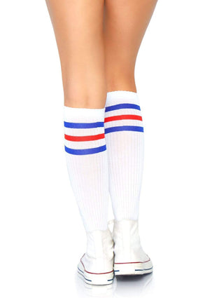 Athletic Knee High Striped Tube Socks in Blue and Red