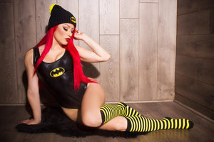 Dark Bat Hero Costume Set: Scoopneck Bodysuit and Mini Skirt