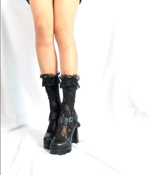 Lace Knee Socks with Ruffle Trim in Black