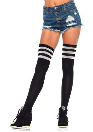 Athletic Thigh High Striped Tube Socks in Black and White