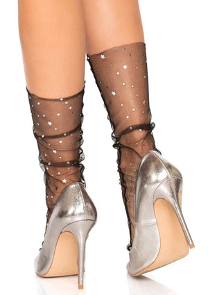 Tulle Anklet Socks with Stars and Moon in Black
