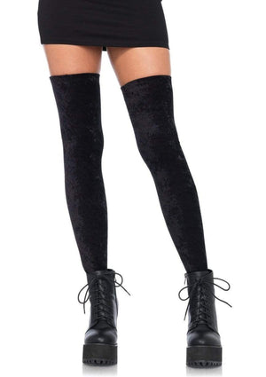 Black Velvet Thigh High Stockings