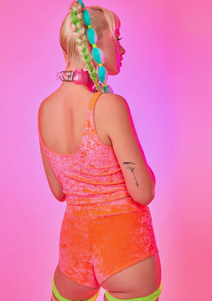 Neon Crushed Velvet Highwaist Cheeky Shorts in Coral