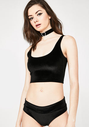 Plush Velvet Crop Tank in Black