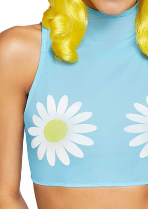 High Neck Sleeveless Crop Top with Daisies in Blue Mesh