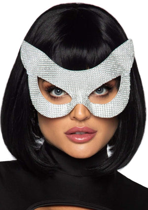 Faux Rhinestone Cat Mask