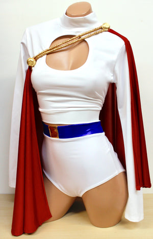 White, Red, and Blue Buxom Superheroine Costume Set