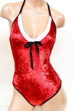 Santa's Helper Red Metallic Velvet Bodysuit and Circle Skirt Set