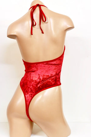 Santa's Helper Red Metallic Velvet High Cut Bodysuit