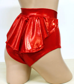 Hologram Highwaist Flutter Bottoms in Red