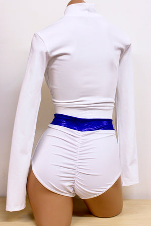Powergirl Inspired Costume Set: Long Sleeve Crop Top, Highwaist Briefs and Cape